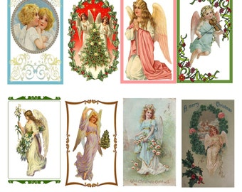 "Digital Collage Angel Tags, ACEO, 2.5"" x 3.5"" Angel Collage, Instant Download and Print, Vintage Christmas Tags, Holiday Decorations Collage"