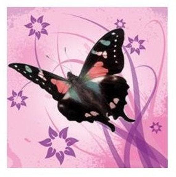 Etsy Shop Banner,  Custom Premade Pink Butterfly Banner, Graphic Design Banner Set, Avatar Design, Butterfly Flower Banner