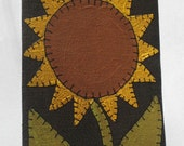 Primitive Folk Art Penny Rug Style Painted Sunflower Luggage Tag Gift Tag Baggage Marker