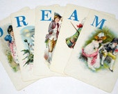 5 Antique (1889) Logomachy Cards - DREAM - - Victorian Alphabet Game Cards for Altered Art, Collage, Scrapbooking, etc.
