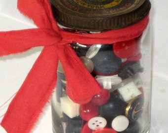 Jar of Red, White and Blue Vintage Buttons