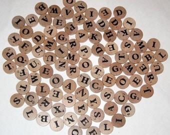 96 Vintage Round Wooden Letter Scrabble Like Letter Tiles for Altered Art, Collage, Scrapbooking. etc.