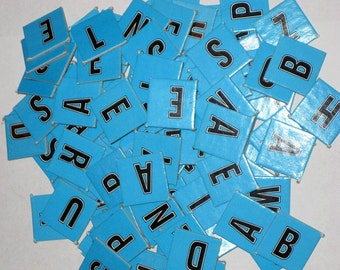Vintage Blue Cardboard Letter Game Tiles for Altered Art, Collage, Scrapbooking, etc.