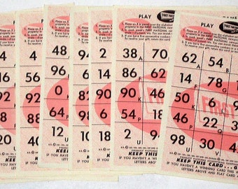 Vintage 1950s First National Stores Advertising Bingo Like  Game Playing Cards for Altered Art