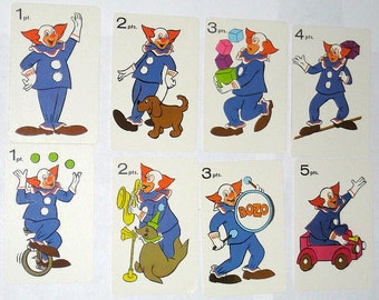 8 Vintage Bozo the Clown Cards for Altered Art, Collage, Scrapbooking, etc.