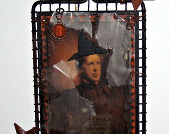 Halloween Altered Art - Vintage Strainer -  Witch - Wicked w/ Rusty Stars