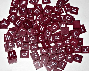 100 Vintage (1982) Burgundy Wooden Scrabble Letter Tiles for Altered Art, Collage, Scrapbooking, etc.
