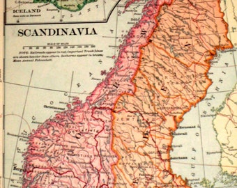 Antique (1901) Map from Vintage Geography Book - Scandinavia or German Empire, Netherlands and Belgium