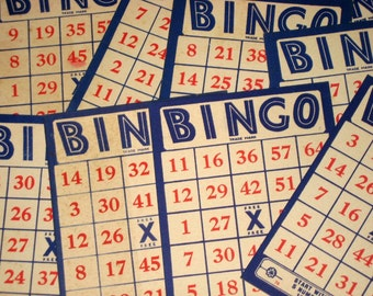 12 Vintage (1930s) Red, White and Blue Bingo Cards for Altered Art, Collage, etc.