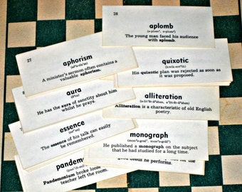 50 Vintage English Vocabulary Cards  - Flash Cards - for Altered Art, Collage, Tags, etc.