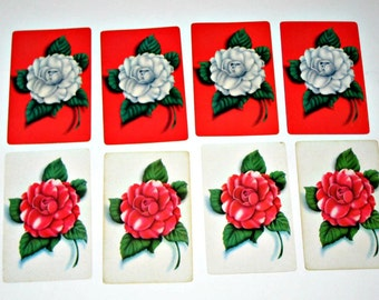 8 Vintage Duratone  Playing Cards w/ Roses for Altered Art, Collage, Scrapbooking, etc.
