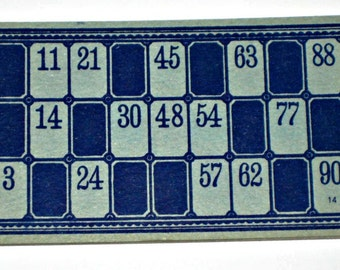 10 Blue Vintage Lotto Cards for Altered Art, Paper Crafts, Collage, etc.