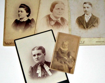 5 Vintage Cabinet Cards -  Photos for Altered Art