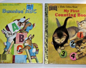 2 Vintage (1985) Little Golden Books  - Bunnies' ABC and My First Conting Book