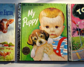 3 Vintage (1980s) Little Golden Books  - Animals on the Farm,  Tootle, and My Puppy