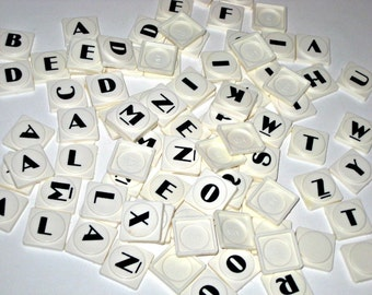 Vintage Plastic Letter Tiles w/ Cool Font for Altered Art, Collage, Assemblage, Scrapbooking, etc.