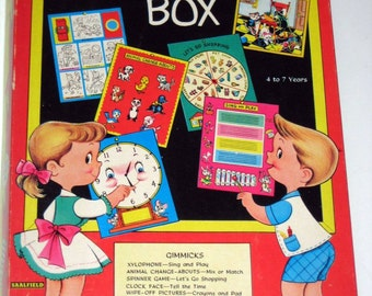 Vintage (1956) Box of Games - Gimmick Box - Puzzles, Coloring