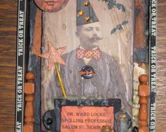 Halloween Folk  Art  Altered Cigar Box Warlock Moon Bat
