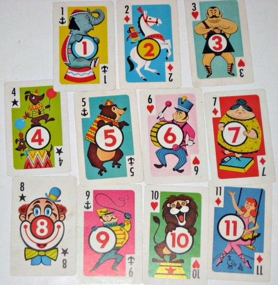 11 Vintage Crazy Eights Cards for Altered Art, Collage, Scrapbooking, Tags, etc.