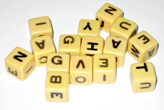 Vintage  (1950s) Spill and Spell Letter Dice Cubes for Altered Art