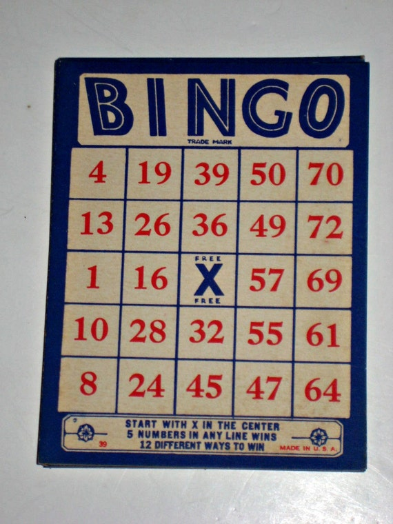 Vintage Bingo Card 105
