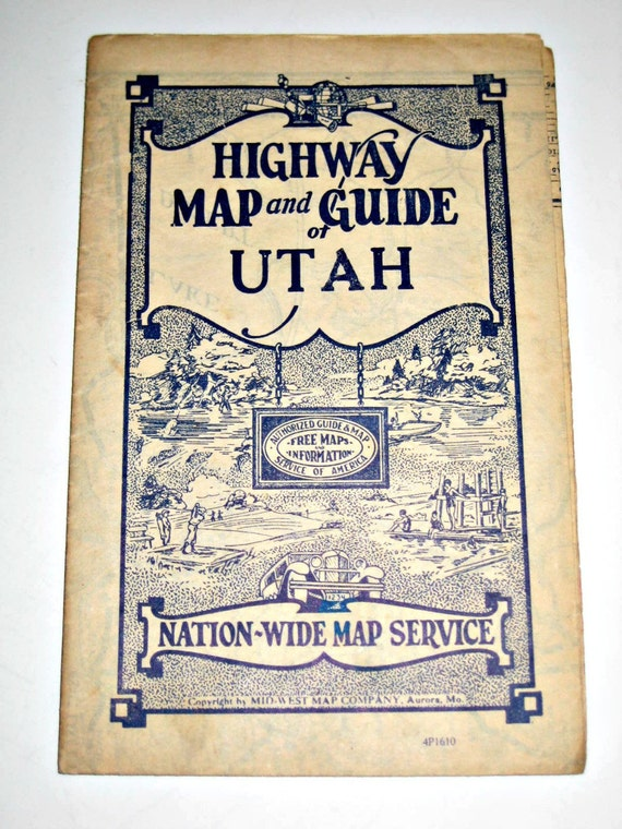 Vintage (1930s) Highway Map and Guide - Utah -  for Framing or Crafting