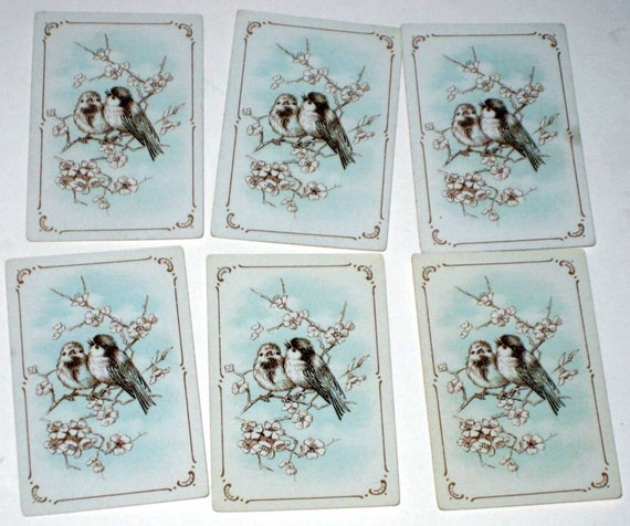 6  Vintage Mini Patience Solitaire Playing Cards w/ Shabby Blue Birds for Altered Art, Collage, Scrapbooking, etc.