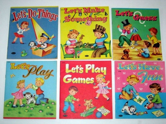 6 Vintage (1953-1954) Small Coloring and Game Books