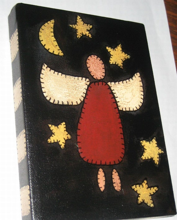 Folk Art Primitive Penny Rug Style Painting Angel