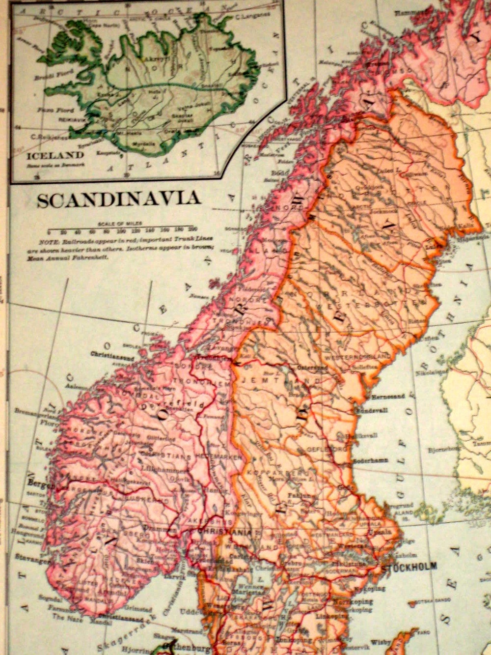 Antique 1901 Map from Vintage Geography Book Scandinavia
