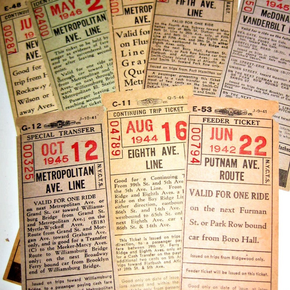 Train Fares For 2 Year Olds: Vintage 1940s Railroad Train Tickets Ephemera For Altered
