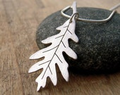 Silver leaf necklace, hand-cut sterling silver oak leaf pendant, large oak leaf necklace.