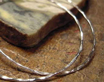 1.5 inch hoop earrings, simple silver hoop earrings, sterling silver hammered hoops,