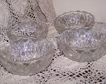 4 Vintage Glass Berry Bowls
