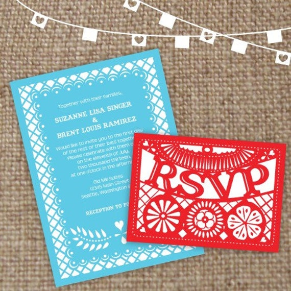 Items Similar To Spicy Papel Picado Wedding Invitation Set Of 25 On Etsy