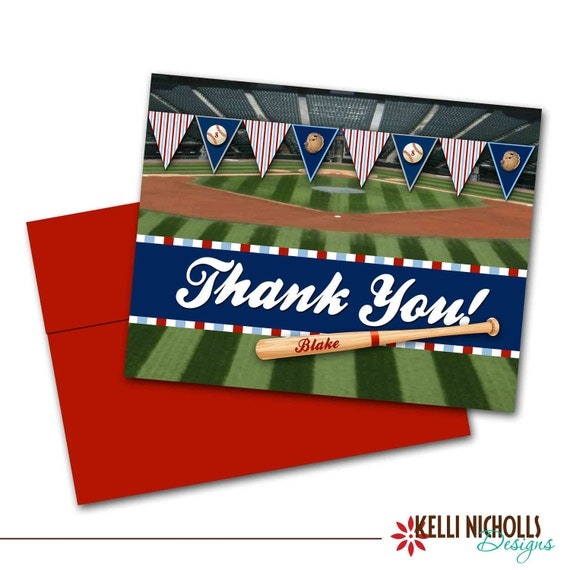 Baseball Bat and Stadium Thank You Cards, Thank You Notes CUSTOM FOR rachelpapp2