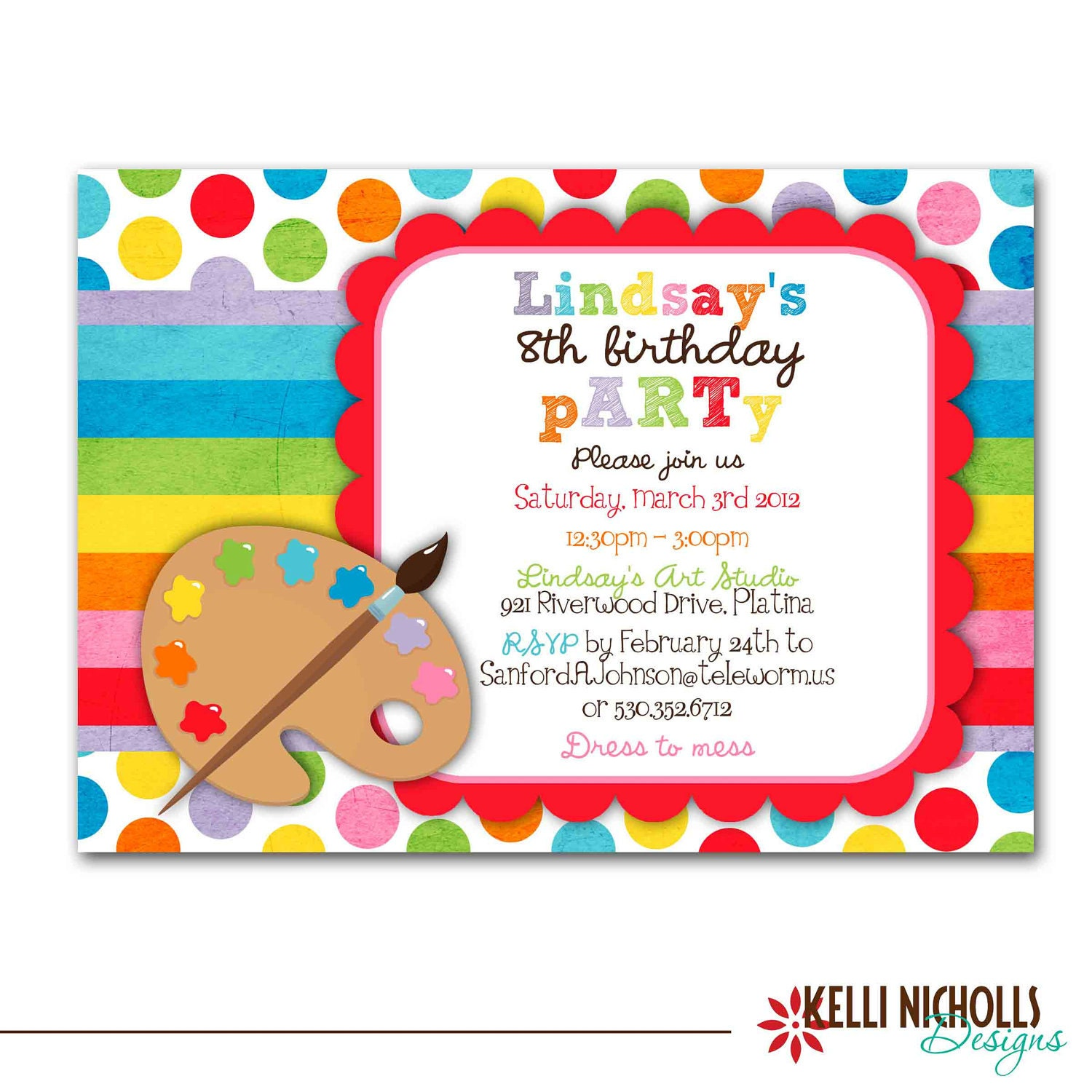Art Birthday Party Invitation Bright Colors Custom