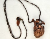 Heart Necklace - oxidized copper