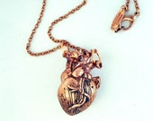 Heart Necklace - antique copper