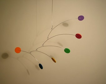 Itsy Very Small Baby Mobile hanging Color Art Mobile Calder style Kinetic Home Decor