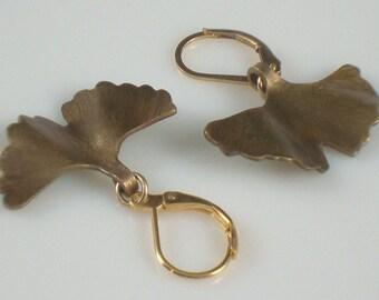 Brass Gingko Leaf Earrings