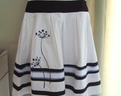 Black and white screen printed Skirt