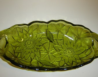 Avocado Green Pressed Glass Dish