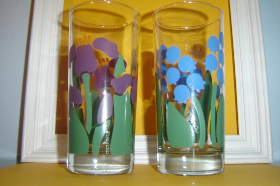 Nina 1983 CHD Vintage Drinking Glasses--Set of 2