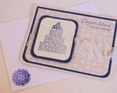 Handmade Wedding Card in Navy and Cream