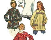1970s  Simplicity 5369 Misses Maternity Smock Top Pattern Womens Vintage Sewing Pattern Size Petite 6 Bust 30
