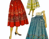 Vintage 50s Simplicity 3496 Simple to Make Skirt and Apron Pattern with Transfer