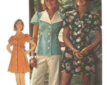 1970s  Simplicity 6220 Misses Mini Dress Top and Bikini Panties Pattern Womens Vintage Sewing Pattern Size 10 Bust 32 UNCUT