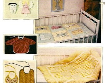 Kwik Sew 976 1970s  Babies Bib Quilt Tooth Pillow and Fairy Animal Applique Transfers Nursery Vintage Sewing Pattern UNCUT