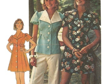 1970s Simplicity 6220 Misses Mini Dress Top and Bikini Panties Pattern Womens Vintage Sewing Pattern Size 10 Bust 32 UNCUT